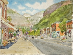 Dallison, David View to Falls, Telluride, watercolor 12 x 15 $2300