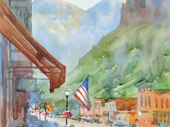 Lanzoni, Kathleen, watercolor, $950, 11 by 14, Morning on Main Street